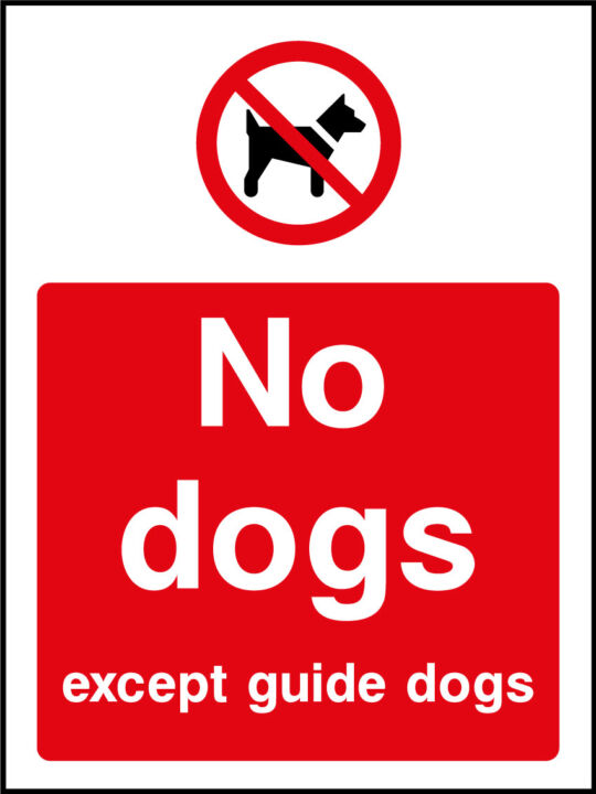 No Dogs Except Guide Dogs Sticker Health And Safety Signs