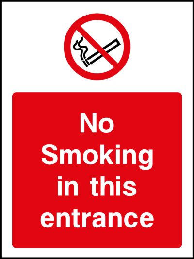 No smoking in this entrance sticker
