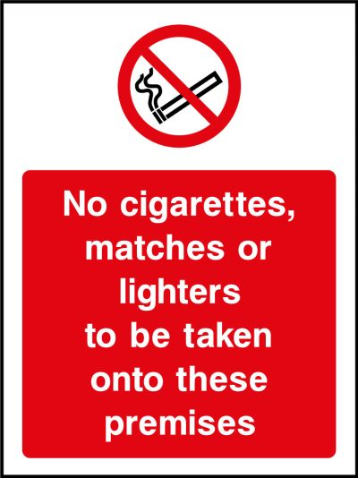 No cigarettes, matches or lighters sticker
