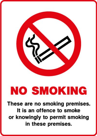 No smoking in these premises sticker