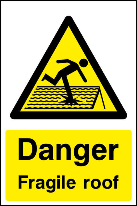 Danger Fragile Roof Sticker Health And Safety Signs