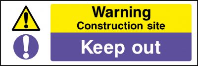 Warning construction site sticker