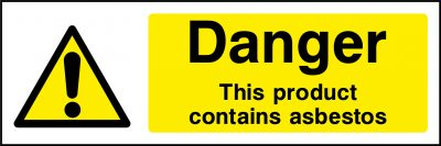 Danger product contains asbestos sticker