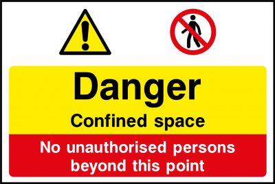 Danger confined space sticker