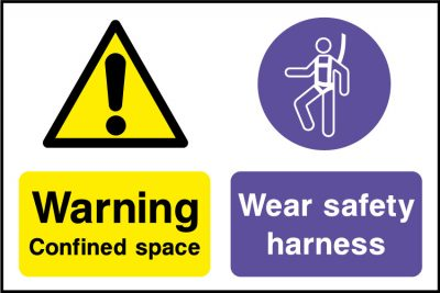 Confined space safety harness sticker