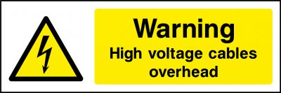 High voltage cables overhead sticker