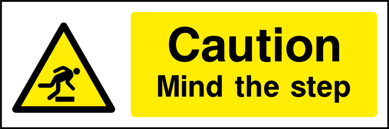 Caution Mind The Step Sticker Health And Safety Signs