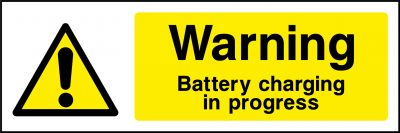 Warning battery charging sticker
