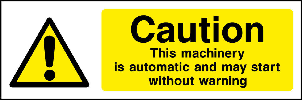 Caution Machinery May Start Sticker Health And Safety Signs