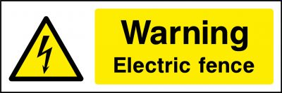 Warning electric fence sticker