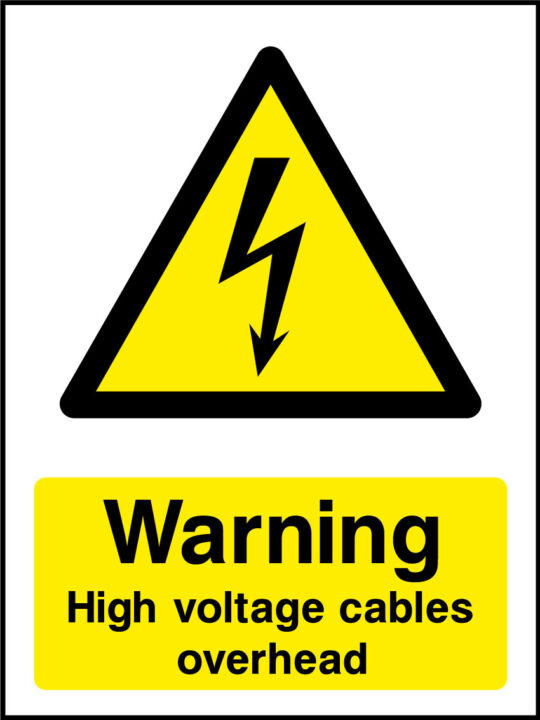 Danger high voltage cables overhead sticker | Health and ...