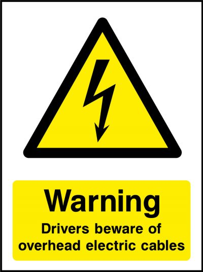 Warning overhead electric cables sticker