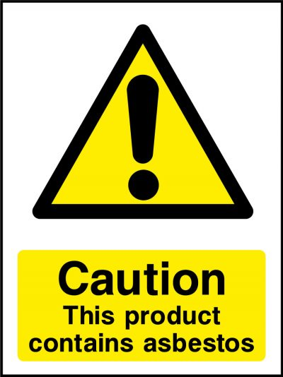 Caution product contains asbestos sticker