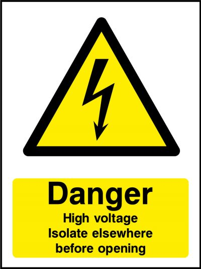 Danger high voltage isolate eleswhere before opening sticker