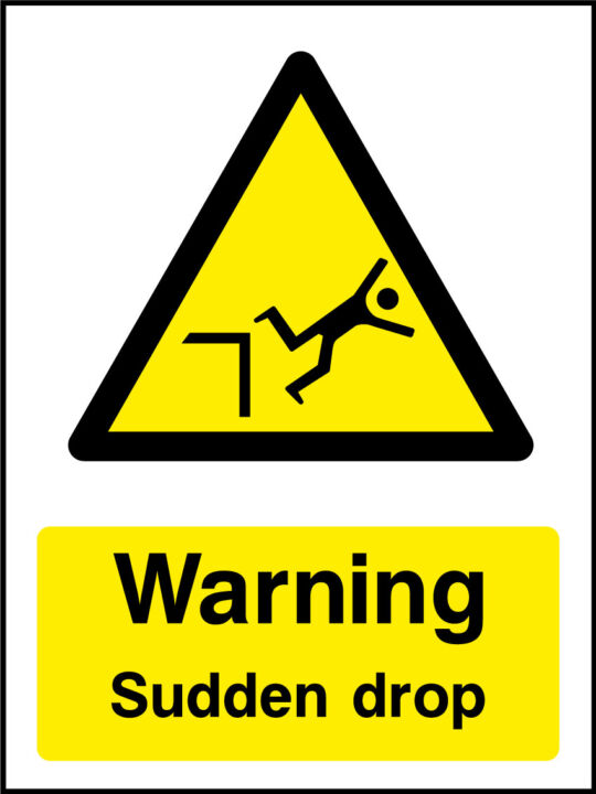 Warning Sudden Drop Sticker Health And Safety Signs