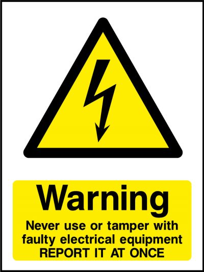 Report faulty electrical equipment sticker