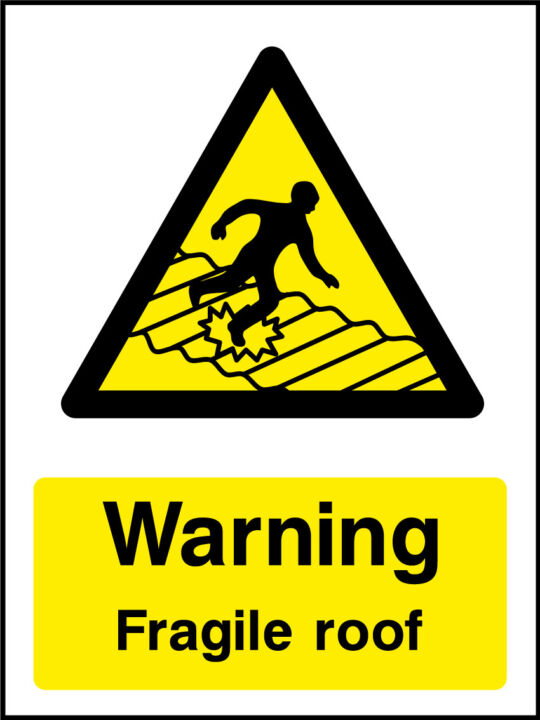 Warning Fragile Roof Sticker Health And Safety Signs