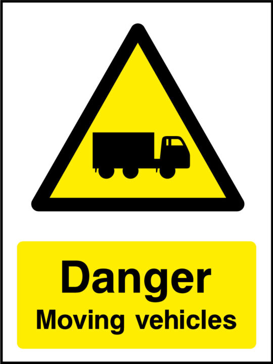 Danger Moving Vehicles Sticker Health And Safety Signs