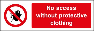 No access without protective clothing sticker