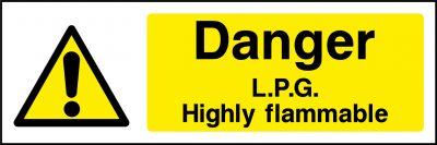 Danger L.P.G. highly flammable sticker