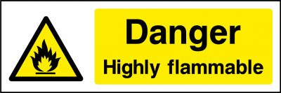 Danger highly flammable sticker