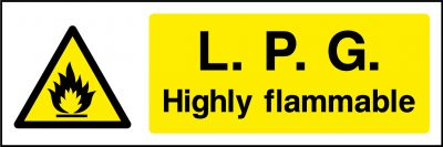 L.P.G highly flammable sticker