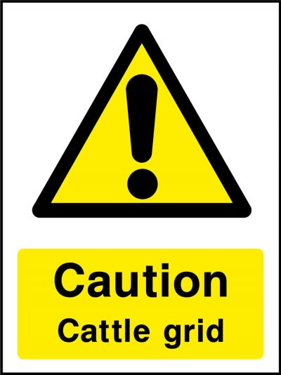 Caution cattle grid stickers