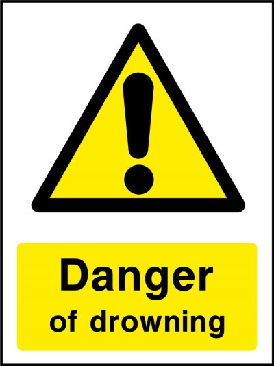 Danger of drowning stickers