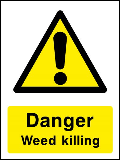 Danger weed killing stickers