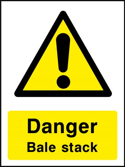Danger bale stack stickers