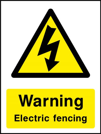 Warning electric fence stickers