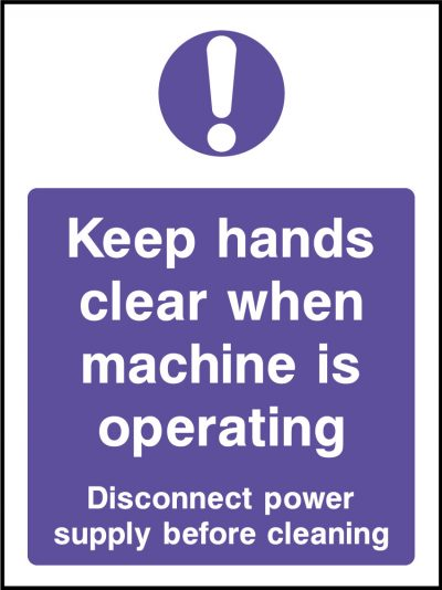 Keep hands clear when operating stickers