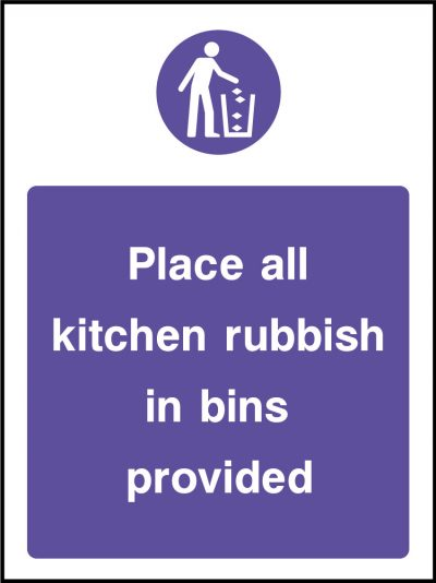 Kitchen rubbish in bins provided stickers