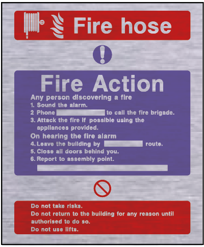 Metal fire action safety sign – fire hose