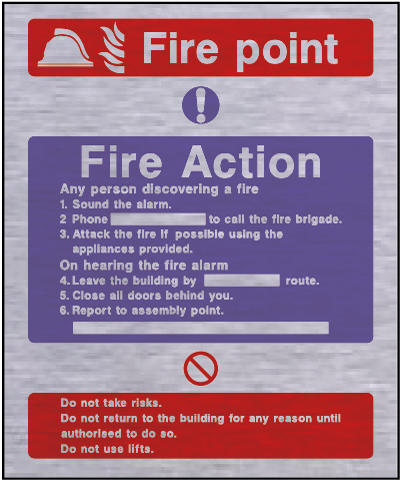 Metal fire action safety sign – fire point