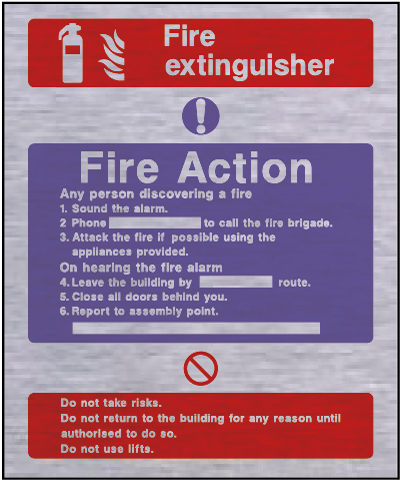 Metal fire action safety sign – fire extinguisher