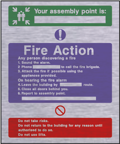 Metal fire action safety sign – assembley point