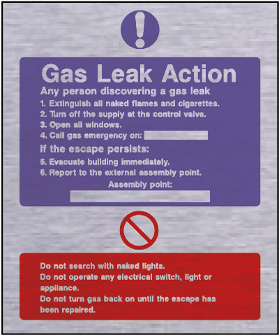 Metal fire action safety sign – gas leak action