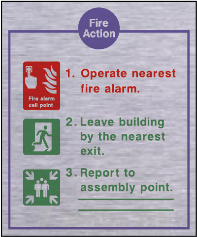Metal fire action safety sign