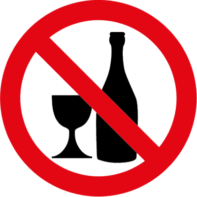 No drinking symbol clear window sticker