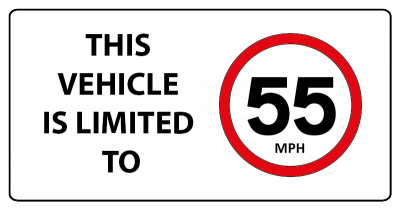 Vehicle limited to 55mph sign