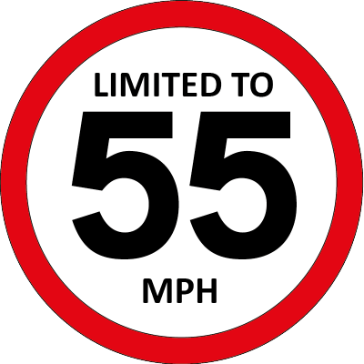 Limited to 55mph sign