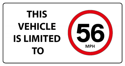 This vehicle is limited to 56mph sign