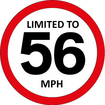 Limited to 56mph sign