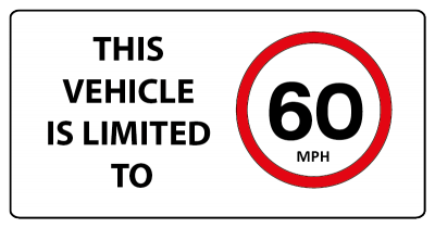 This vehicle is limited to 60mph sign