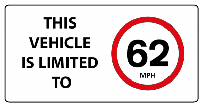 This vehicle is limited to 62mph sign