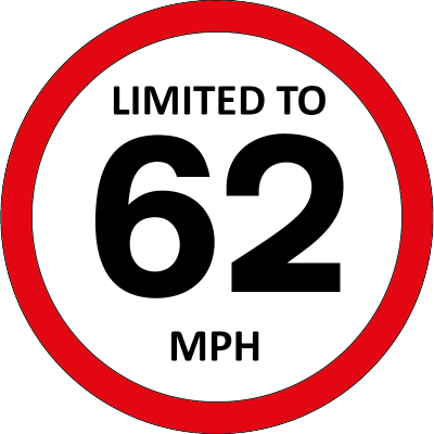 Limited to 62mph sign