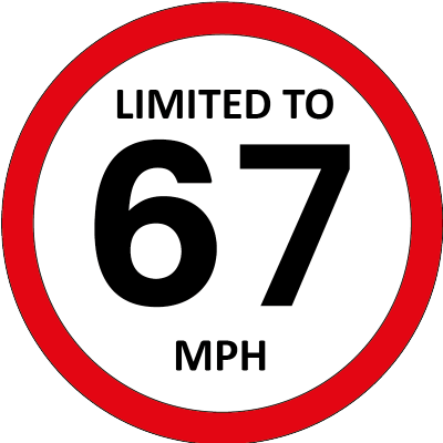 Limited to 67mph sign