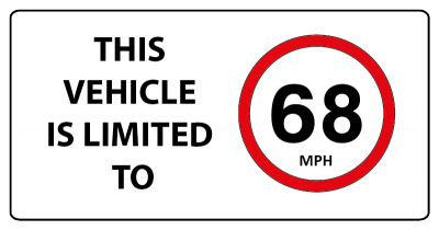 This vehicle is limited 68mph sign