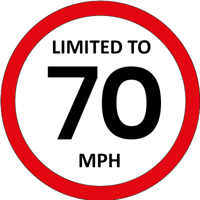 Limited to 70mph sign